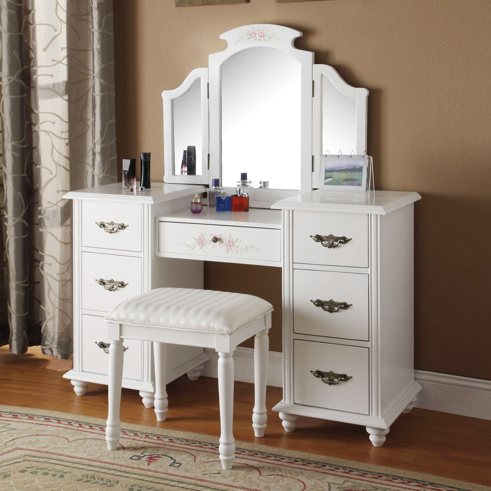 torian collection elegant vanity makeup set w tri folding mirror stool white ebay. Black Bedroom Furniture Sets. Home Design Ideas