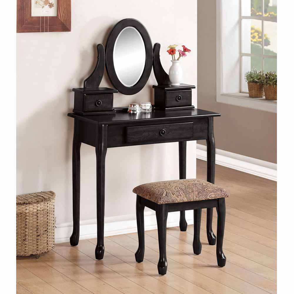 Jonas collection queen anne style accent vanity makeup set for Queen anne style bedroom furniture