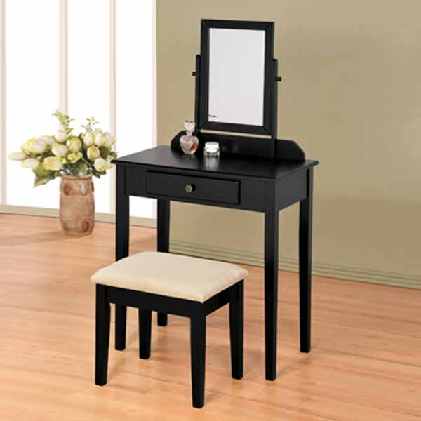 bedroom vanity makeup table mirror bench stool set storage drawer wood