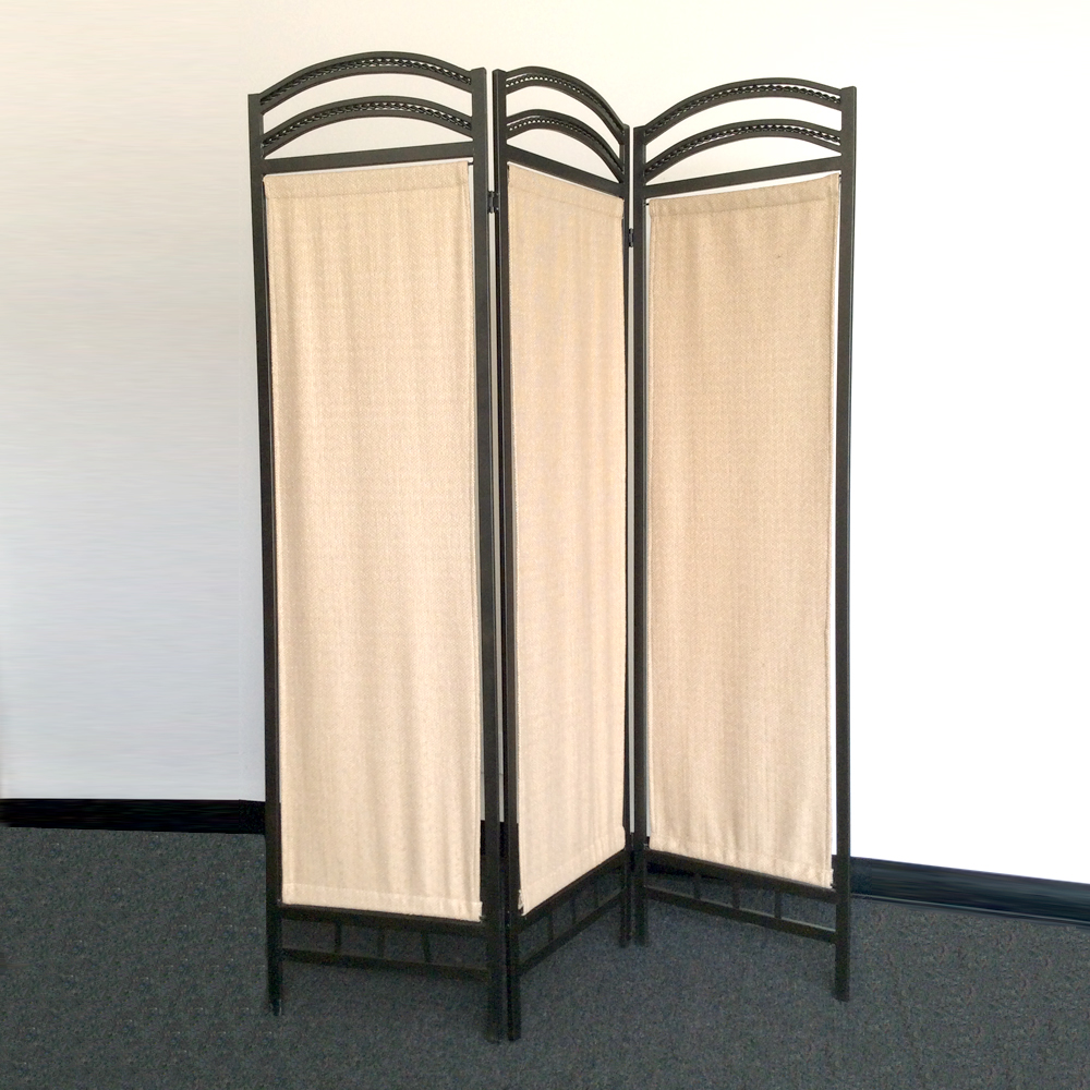 3 Folding Cloth Screen Panels Shoji Living Room Divider Metal Coating Black N