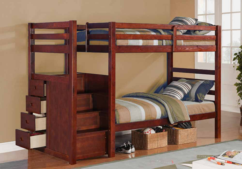 Youth kids teens bedroom twin over twin bunk bed stairway storage ladder drawers ebay - Kids twin beds with storage drawers ...