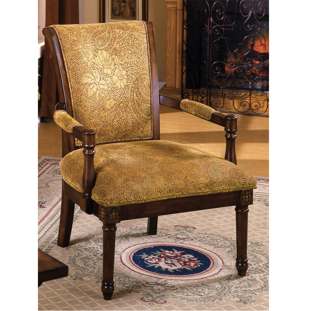 Stockton Accent Arm Chair Hand-Carved Padded Fabric Seat