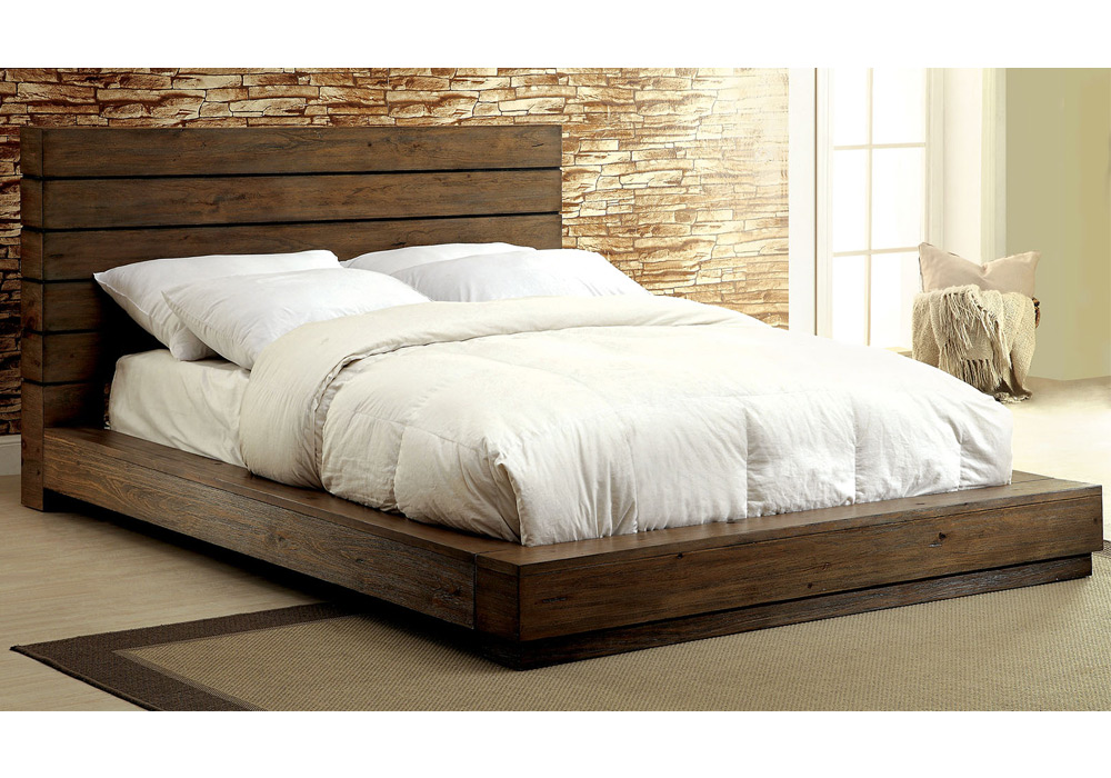coimbra low profile king cal bed plank panel headboard rustic natural solid wood ebay. Black Bedroom Furniture Sets. Home Design Ideas
