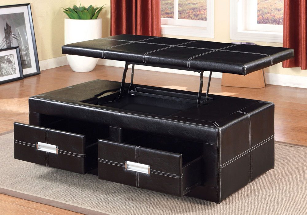Ostel Storage Lift Top Bench Coffee Table 2 Drawers Padded Latherette Espresso Ebay