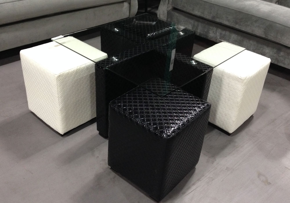 Ruti Contemporary Style Square Coffee Table Bench Glass Top Black White Ottomans Ebay