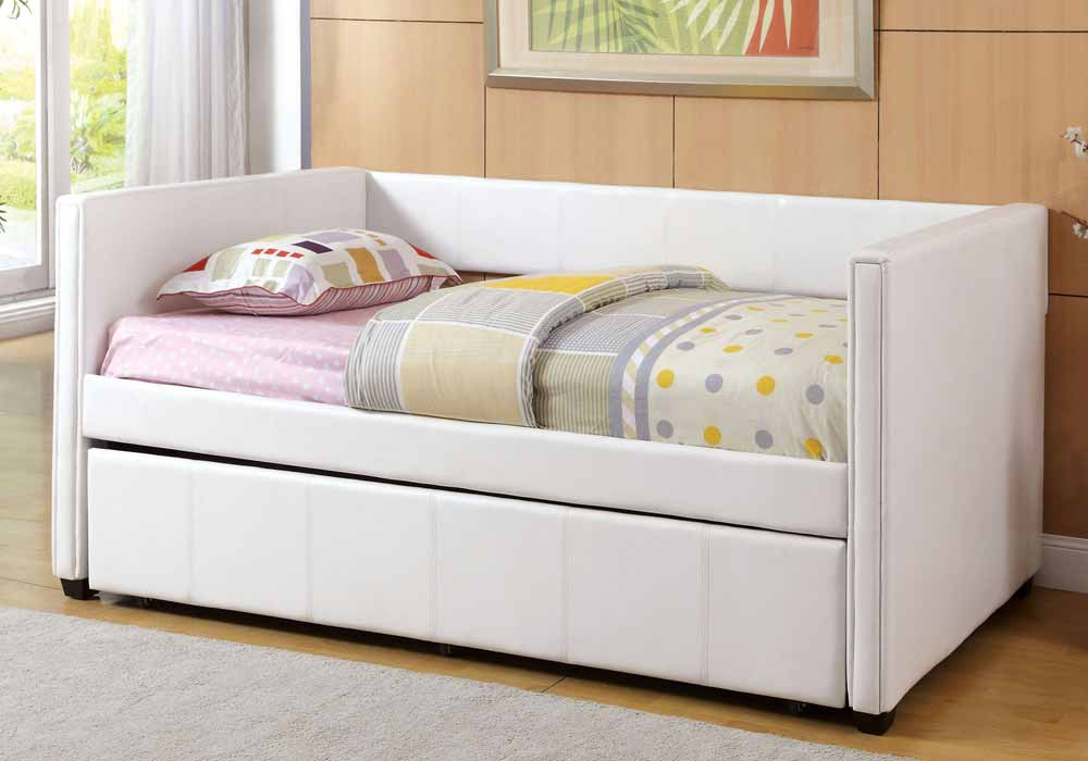 Cadiz Contemporary Leatherette Platform Daybed Day Bed Guest Twin Trundle White