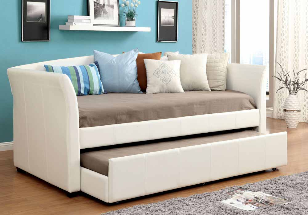 Delmar Contemporary Leatherette Platform Daybed Day Bed Guest Twin Trundle White