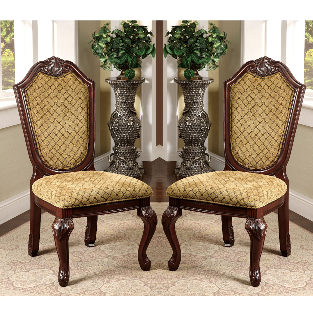 Napa valley set of 2 formal dining side chairs fabric for Cherry dining room chairs
