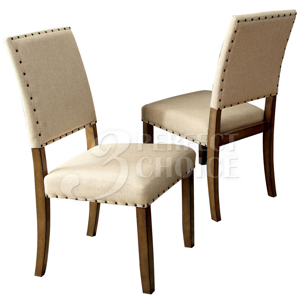 Melston set of 2 dining side chairs fabric w nailhead trim wood in natural new ebay - Nailhead dining room chairs ...