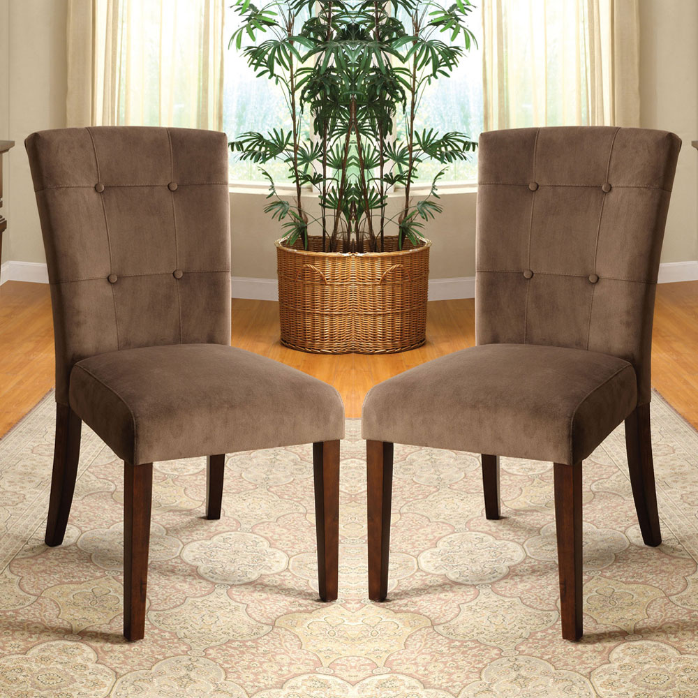 Set Of 2 Dining Room Furniture Tufted Brown Leather Dining: Havana Set Of 2 Dining Side Chairs Upholstered Velvet
