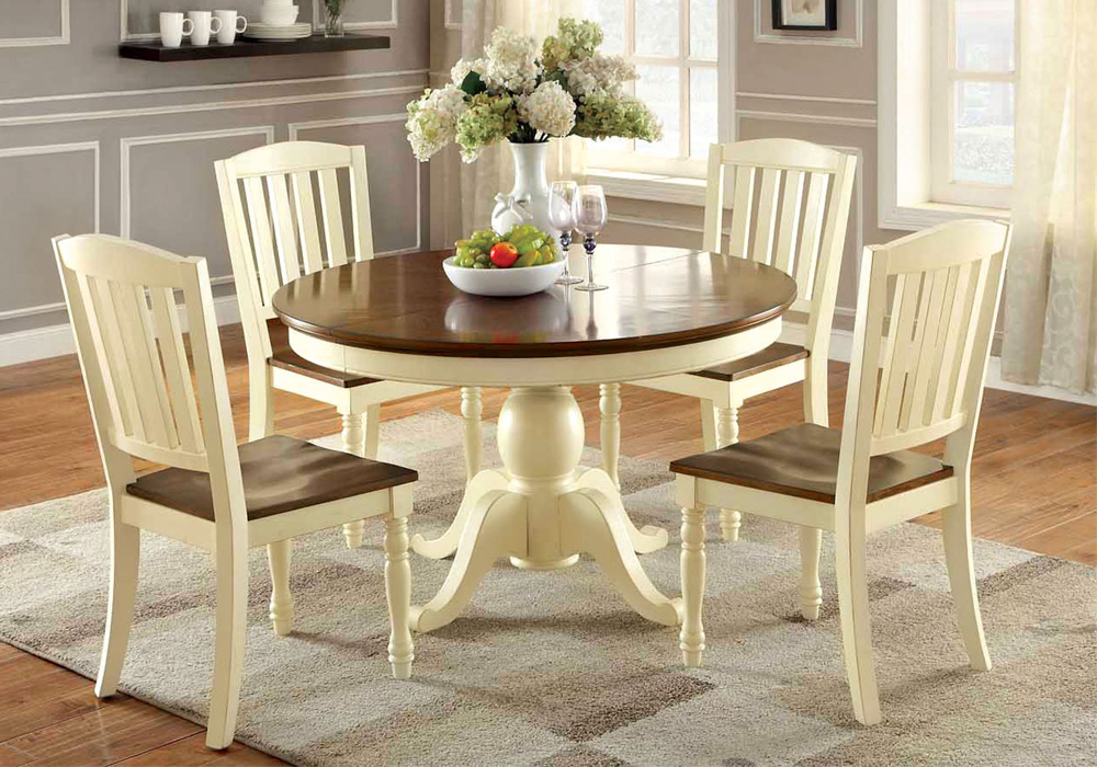 Harrisburg 7 pcs dining set cattage white oak solid wood for Solid oak dining table with leaf