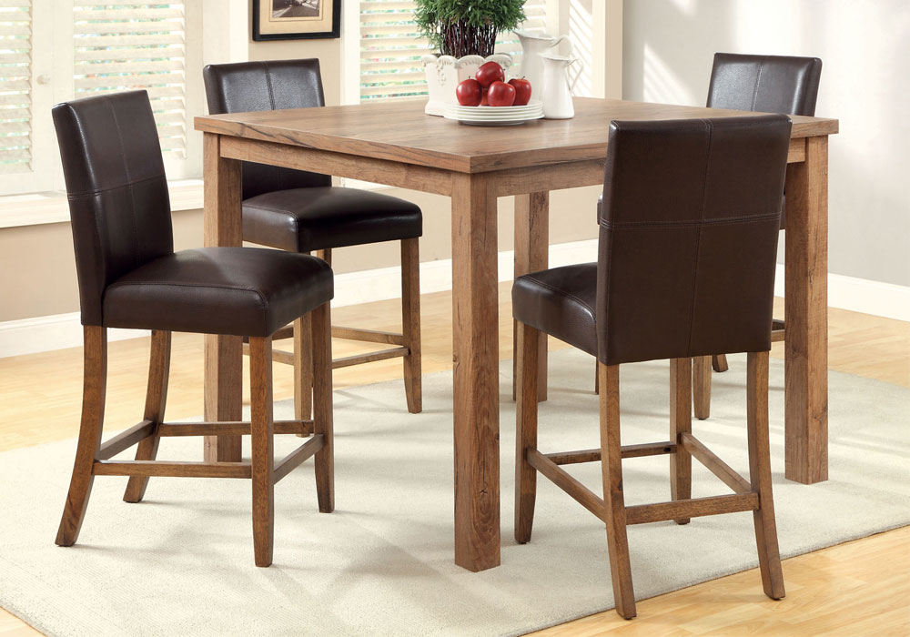 Natural Wood Light Oak Counter Height Dining 48 Table Set W Espresso Ch