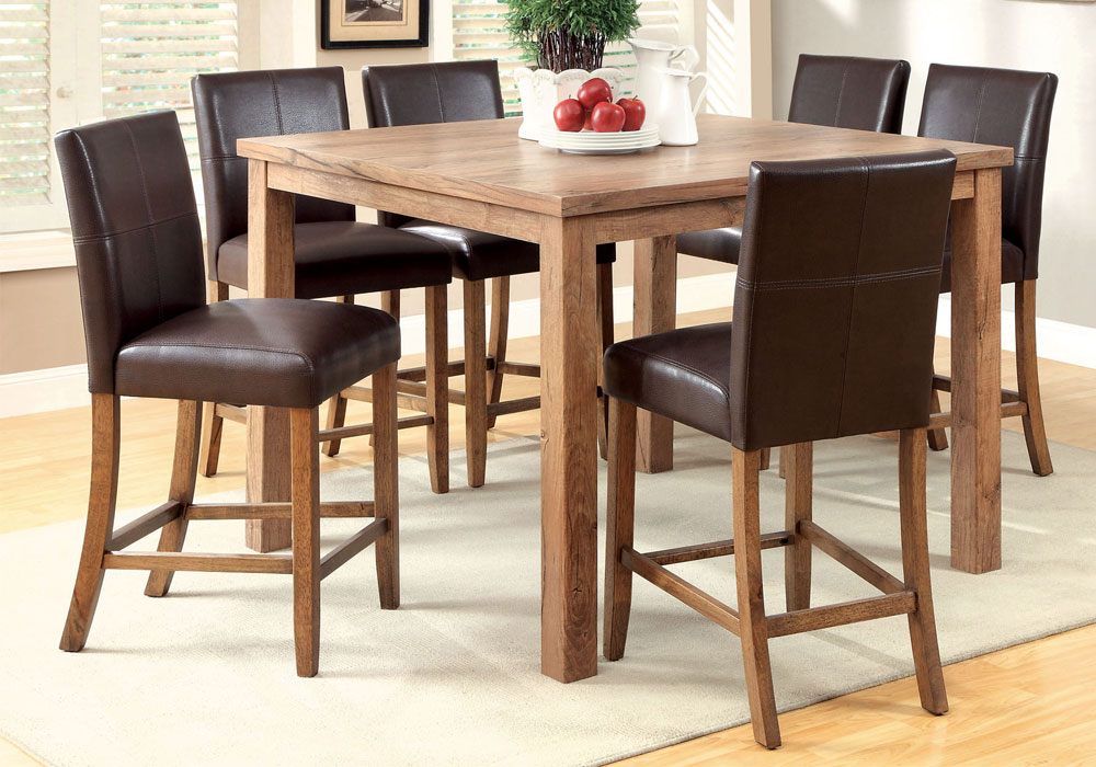 7 PC Natural Wood Light Oak Counter Height Dining 48 Table Set Espresso