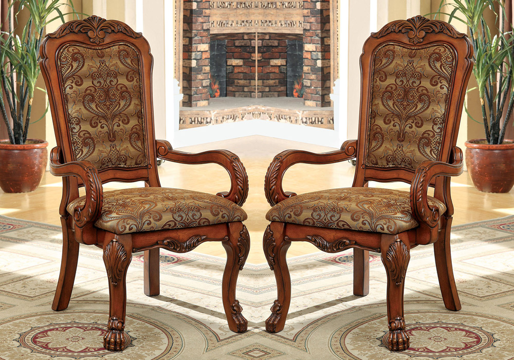 formal dining room sets with leather chairs | Medieve 2 pcs Formal Dining Arm Chairs Fabric Floral ...