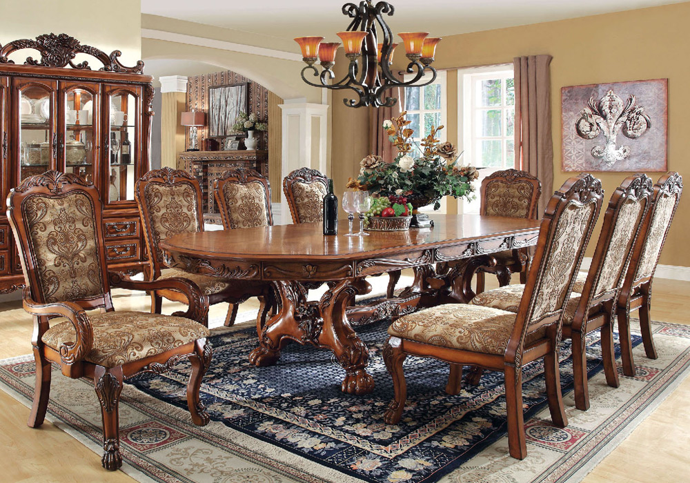 Medieve Elegant Formal 9 Pcs Dining Leaves Table Set Claw Feet Side Arm Chairs Ebay