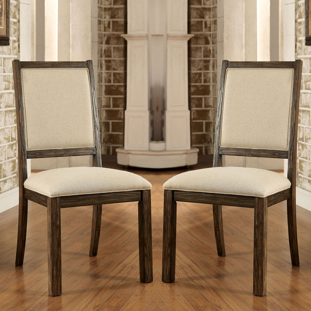 Best Oak Dining Side Chairs ~ Colettte pc rustic oak wood formal dining concrete table