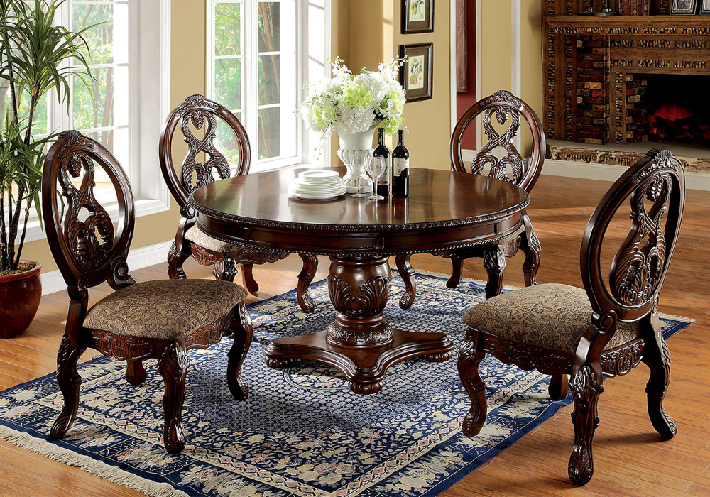 Tuscany 5 Pcs Formal Elegant Dining Set Round Pedestal