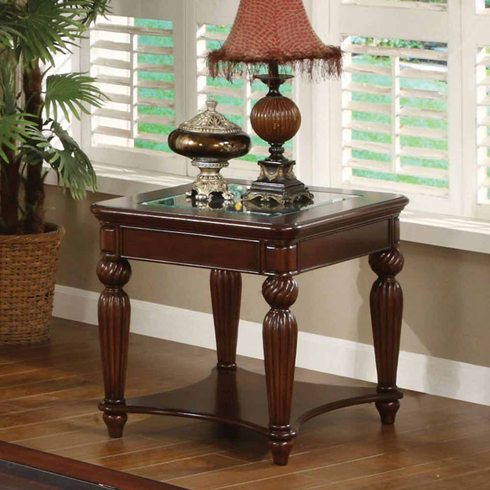 Windsor occasional end side table elegant reeded legs for Glass top occasional tables
