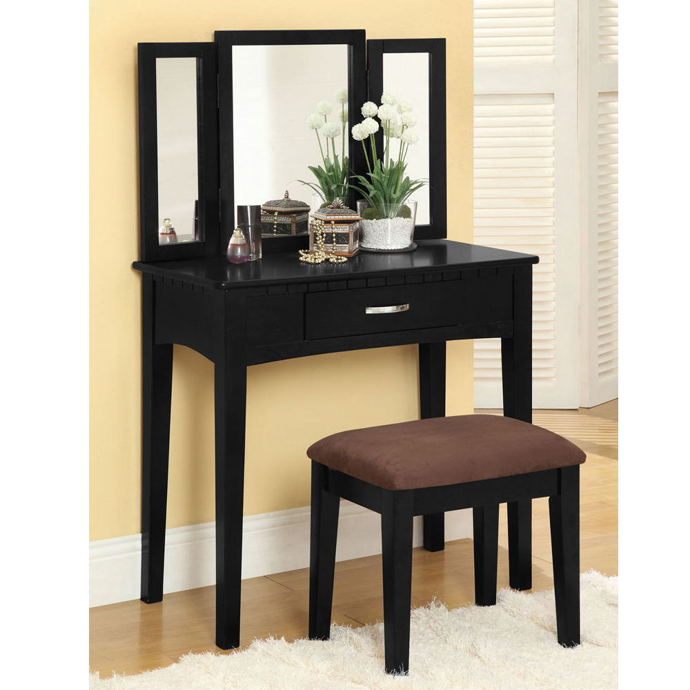 Potterville Makeup Vanity Table Tri Folding Mirror W Stool W Drawer In Black