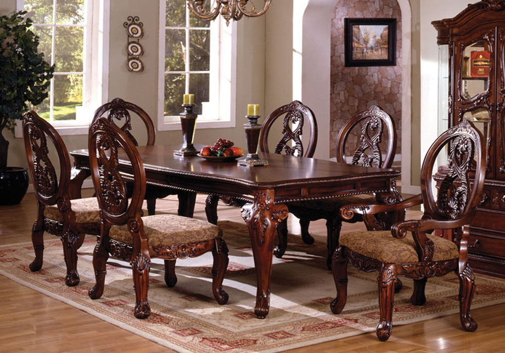 Antique Tuscan Formal Dining Room Pc Tuscany III Antique Cherry Finish Wood Elegant Formal Style Dining