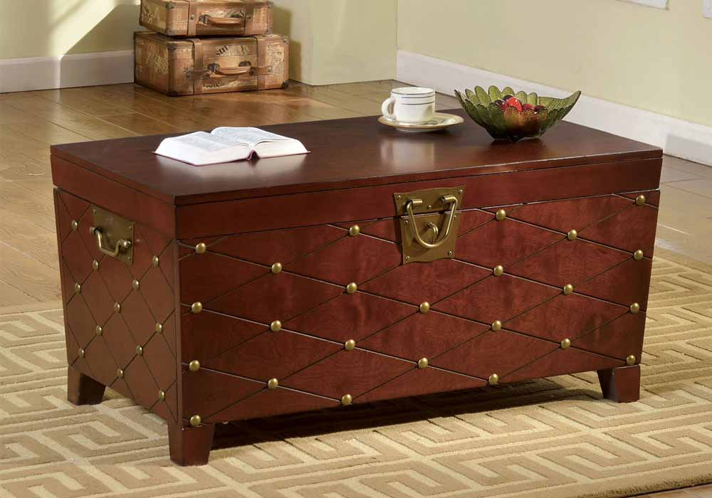 Humboldt Contemporary Organizer Storage Chest Trunk Nailhead Coffee Table Cherry Ebay