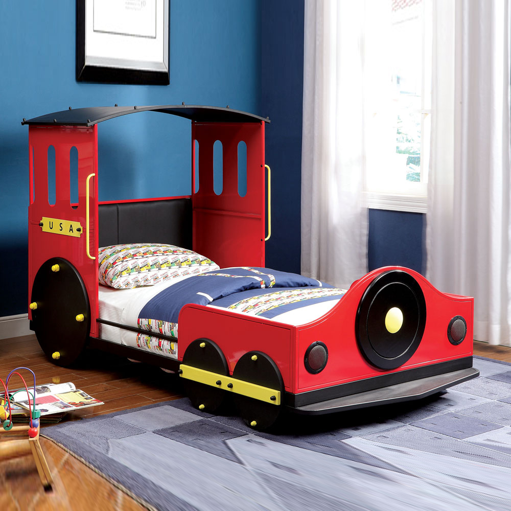 Youth lovely youth bedroom kids boys children train twin bed sturdy metal frame ebay for Toddler train bedroom