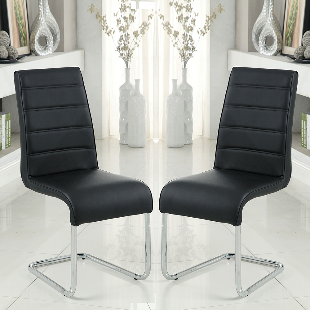 Set of 2 Modern Kitchen Dining Side Chair in Black ...