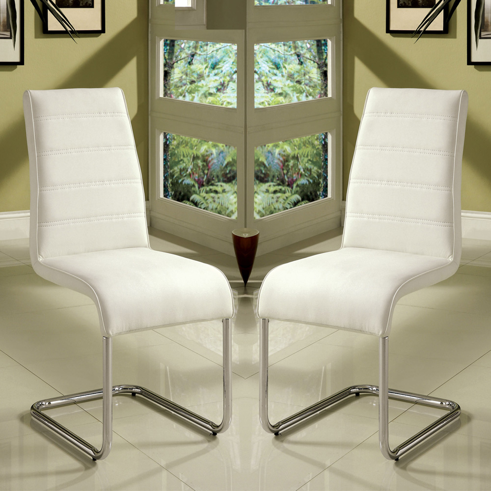 Chrome Kitchen Chairs: Set Of 4 Modern Kitchen Dining Side Chair In White