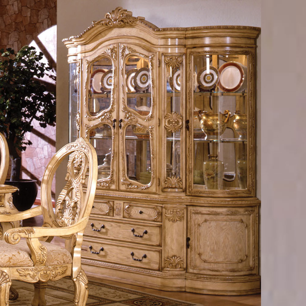 Antique Tuscan Formal Dining Room Formal Dining Buffet Hutch In Antique White Finish The Dining Room Is