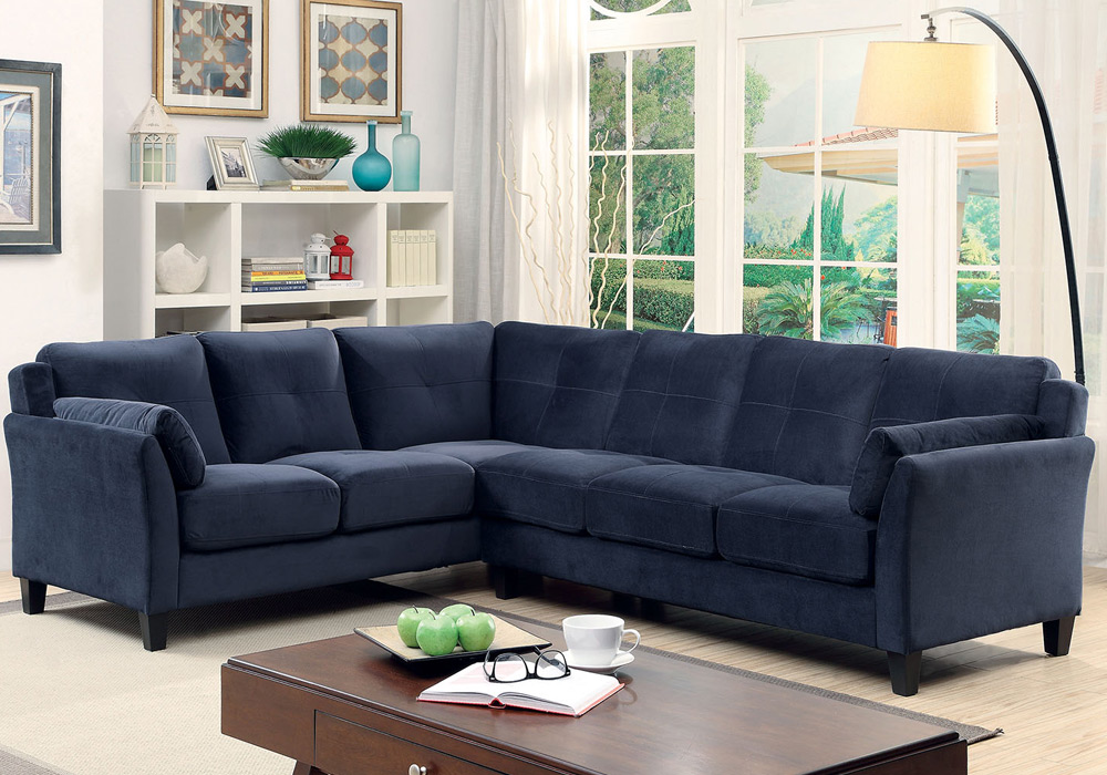 Peever living room sectional sofa l shaped tufted cushion for Navy blue tufted sectional sofa