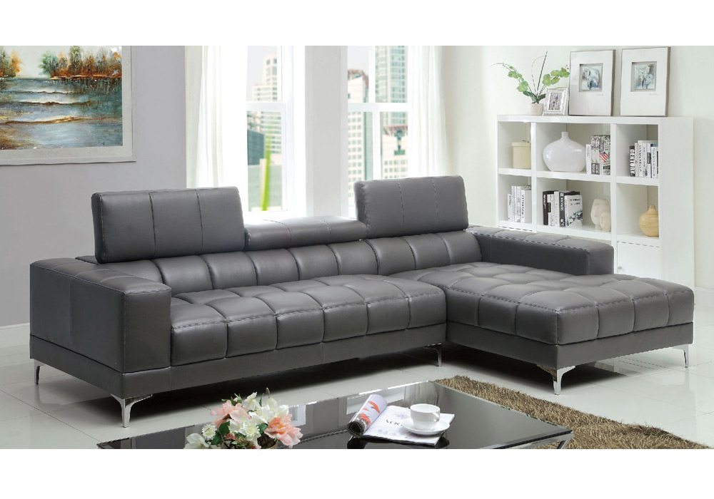 Bourdet contemporary l shaped sectional sofa chaise grey for Bonded leather sectional with chaise