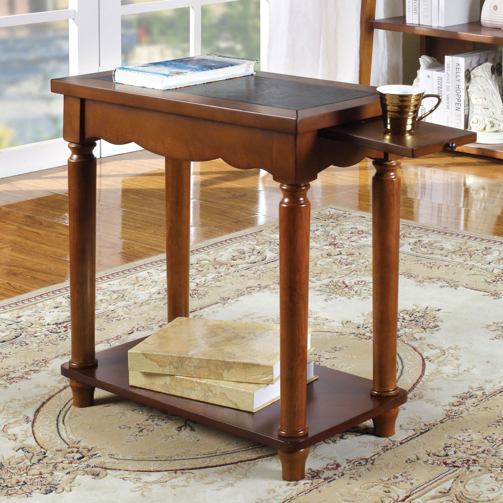Prasi Chairside Side Snack Table Pull Out Tea Tray