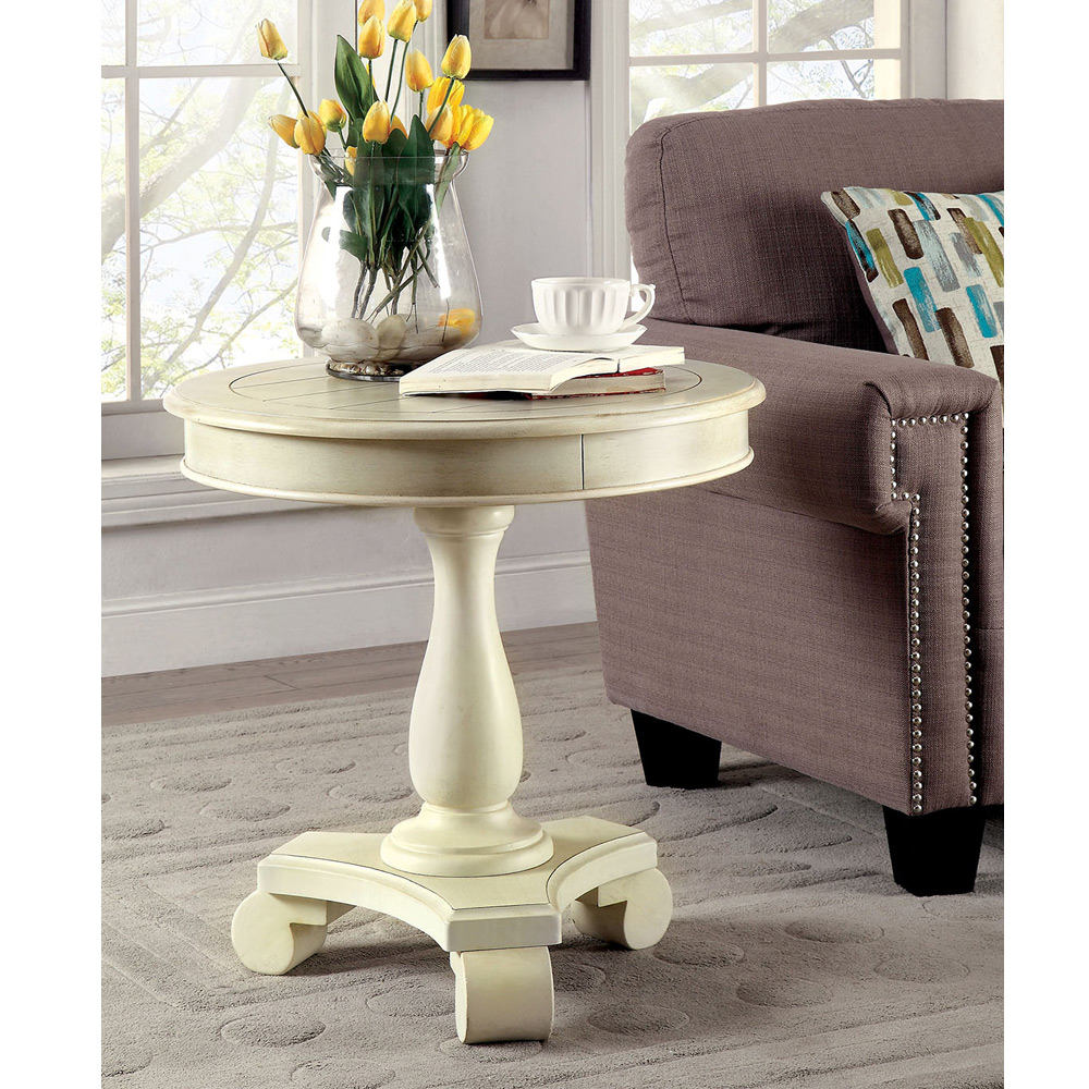 Old Charm Coffee Tables Ebay: Kalea Transitional Round Accent Side End Table Solid Wood