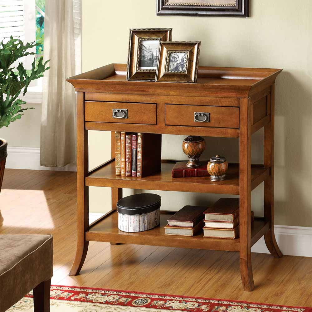 wickenburg console sofa table hallway living room tray top drawers shelves oak. Black Bedroom Furniture Sets. Home Design Ideas