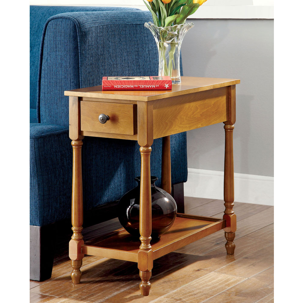 Bris Transitional Chairside Side Table Storage Drawer