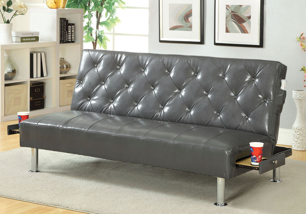 Farel Comfort Sofa Bed Futon Tufted Back Gray Leatherette