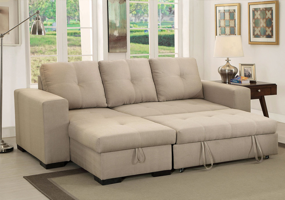 denton comfort sectional pull out sleeper futon reversible chaise storage ivory ebay. Black Bedroom Furniture Sets. Home Design Ideas