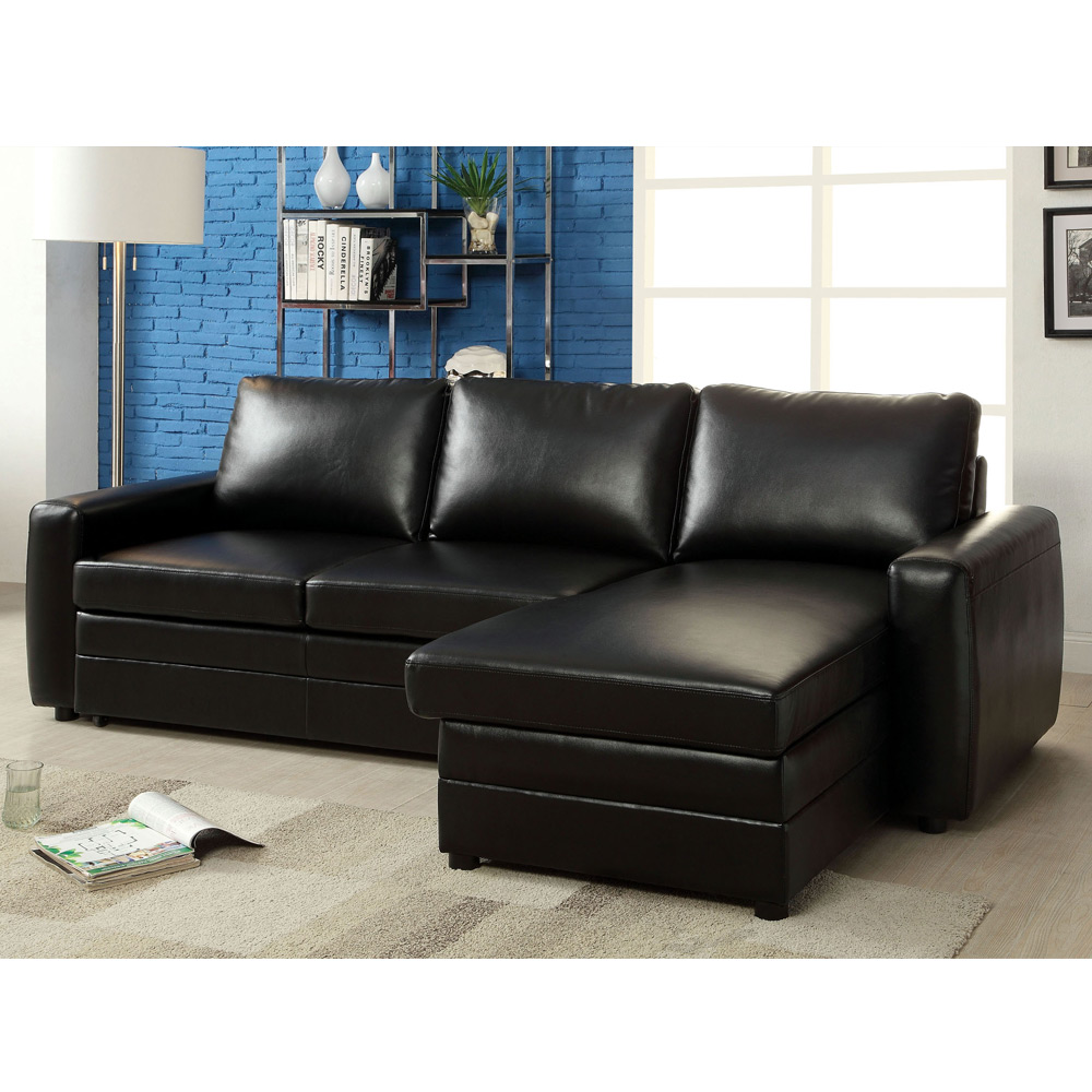Salem sectional sofa pull out sleeper bed storage chaise for Sectional sofa with pull out bed and recliner
