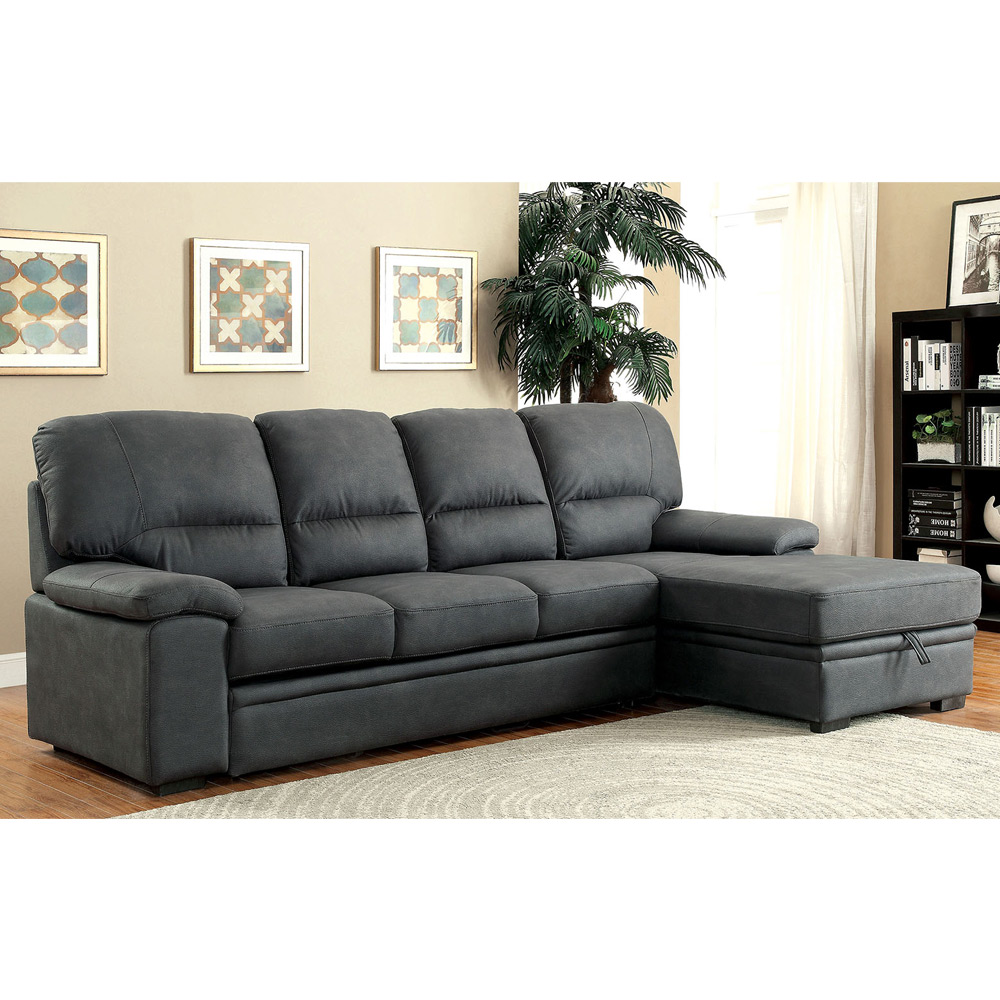 Alcester sectional sofa pull out sleeper bed chaise underneath storage graphite ebay Loveseat with pullout bed