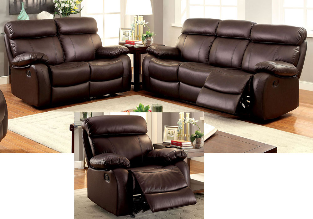 3 Pcs Plush Sofa Couch Loveseat Glider Lounger Recliner Brown Top Grain Leather Ebay