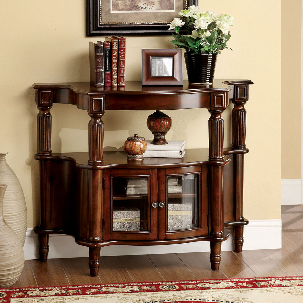 Hallway entryway console side table storage cabinet chest turned leg wood walnut ebay - Entrance table with storage ...