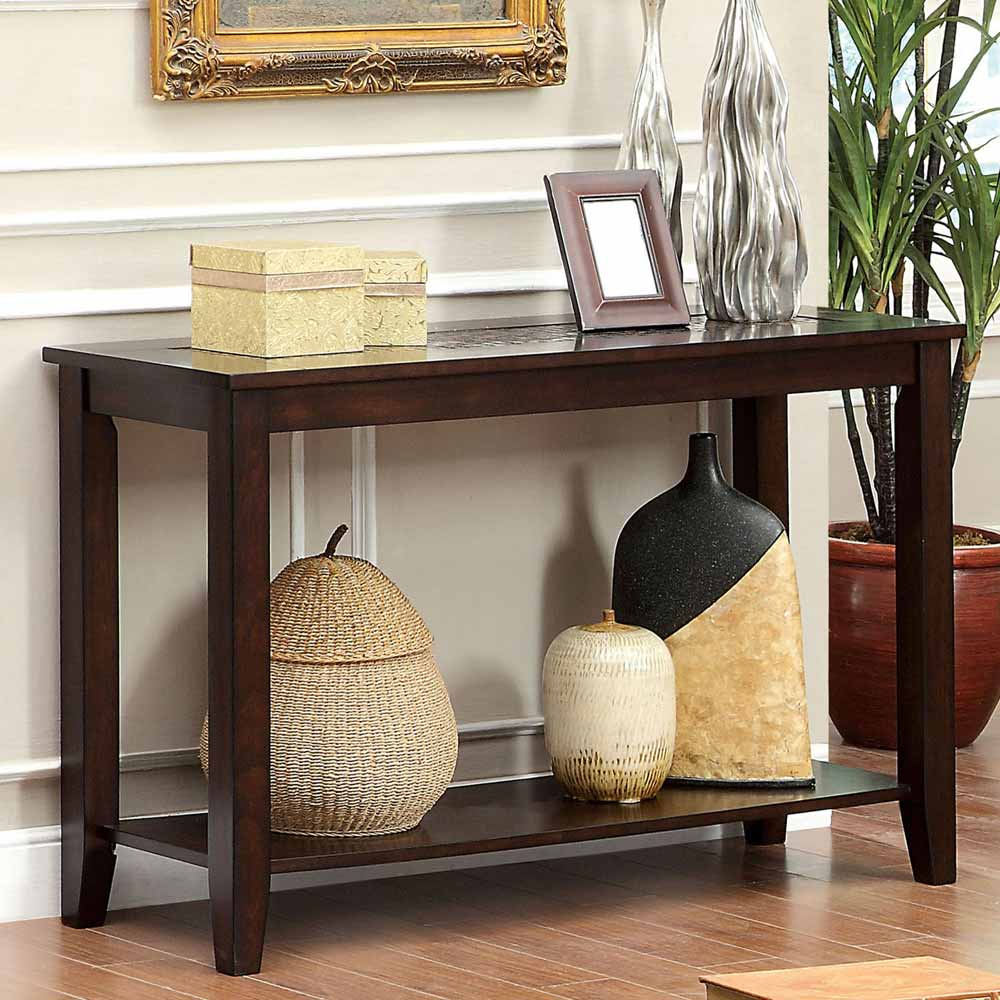 twonsend transitional sofa console table mosaic top open shelf dark wood cherry ebay. Black Bedroom Furniture Sets. Home Design Ideas
