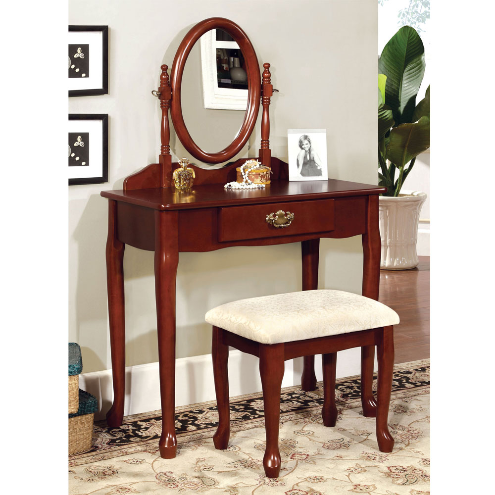 Queen Anne Style Vanity Makeup Table Oval Mirror W Padded Bench Stool In Cher