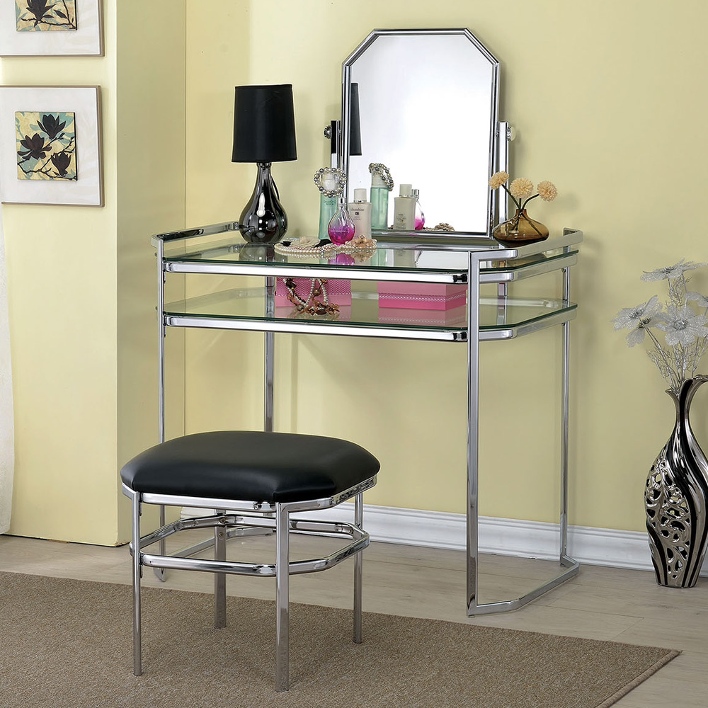 colleen beautiful vanity glass table shelves mirror pu. Black Bedroom Furniture Sets. Home Design Ideas