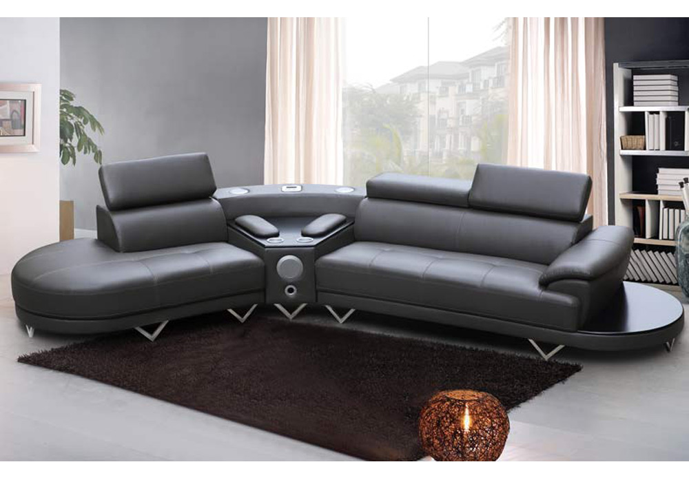 Contemporary Curved Sectional Sofa Bluetooth Speaker Console Grey Bonded Leather Ebay