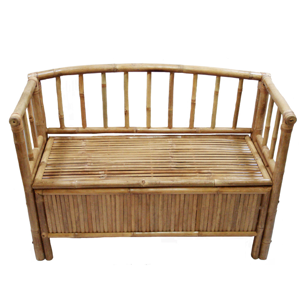 Loft Bench Seat Natural: Hallway Entryway Sturdy Bamboo Storage Bench W/ Arms