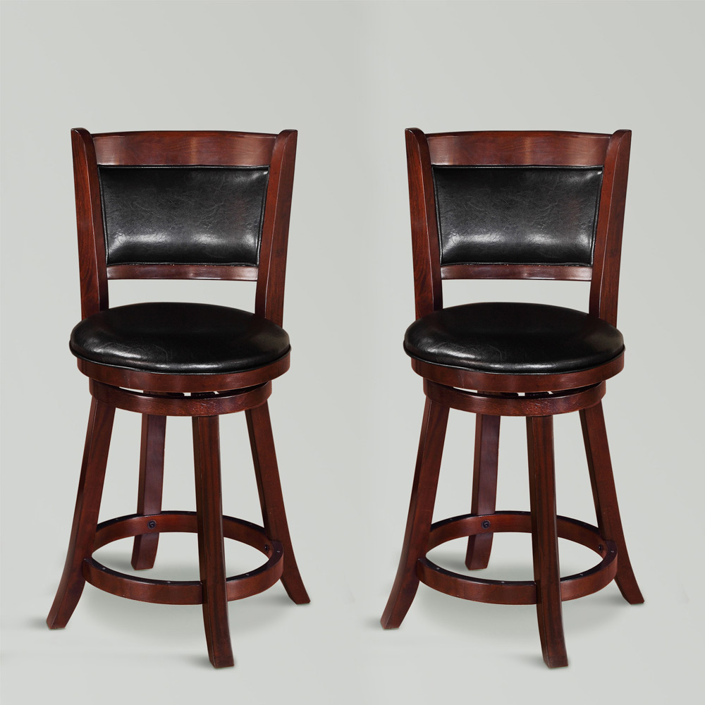 Cecil 2 pcs 24quoth swivel dining counter height stools for Swivel dining room chairs