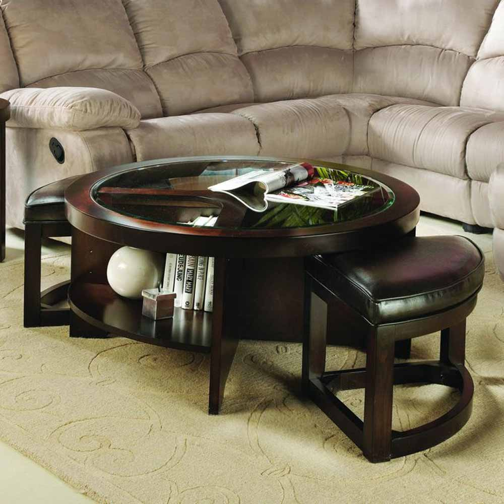 Occasional 3 PC Round Coffee Table Glass Top W/ PU Wedge