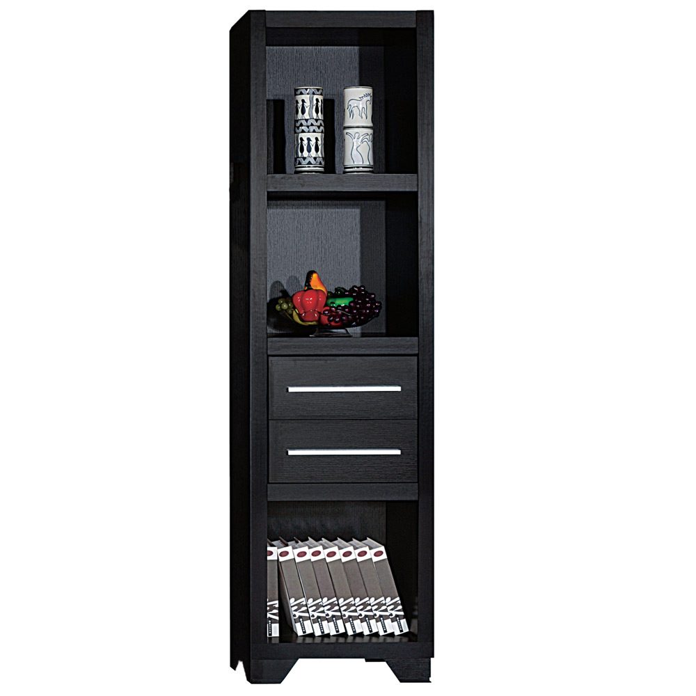 Tall Media Tower Bookcase Storage Drawer Shelves Cabinet
