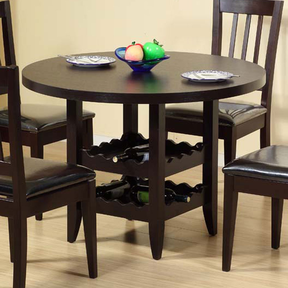 42 round dining table under storage wine bottle racks for Dining room tables with storage